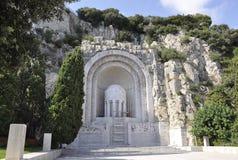 Monument Zusatz-Morts de Rauba- Capeu von Nizza auf französischem Riviera stockbild