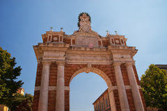Monumental Arch dedicated to Pope Clement XIV in Santarcangelo, Italy Royalty Free Stock Photography