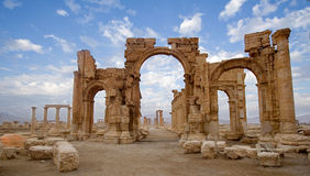 The monumental arch of Palmyra. Palmyra, in the middle of the Syrian Desert is one of the most beautiful and magnificent of the Syrian historic sites. This Arab Royalty Free Stock Photography