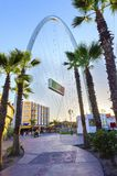 Monumental arch, Tijuana, Mexico. The Millennial Arch (Arco y Reloj Monumental), a metallic steel arch at the entrance of the city of Tijuana in Mexico, at zona stock photos