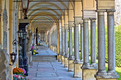Monumental architecture of Mirogoj cemetery arcades Stock Photos