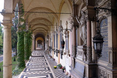 Monumental architecture of Mirogoj cemetery arcades in Zagreb. Capital of Croatia Royalty Free Stock Photo