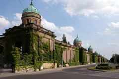 Monumental architecture of Mirogoj cemetery arcades in Zagreb. Capital of Croatia Royalty Free Stock Photography