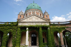 Monumental architecture of Mirogoj cemetery arcades in Zagreb. Capital of Croatia Stock Image