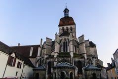 Monumental basilica of Notre-Dame de Beaune, France stock photos