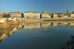 Monumental buildings beautifully mirrorer in water of river Royalty Free Stock Photography