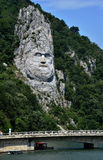Monumental Carved Face on the Danube Royalty Free Stock Photo