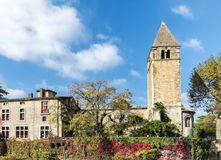 Monumental church tower on the island Ile Barbe in the Saone, in Stock Photography