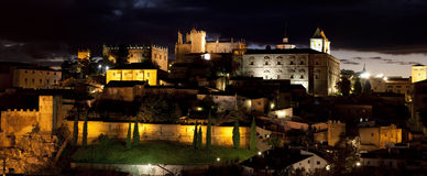 Monumental city of Cáceres of night Royalty Free Stock Images