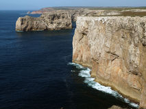 Monumental cliff coast near Cape St  Vincent Royalty Free Stock Images