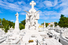 The monumental Colon cemetery in Havana. Beautiful angel with a general view of the monumental Colon cemetery in Havana Stock Images