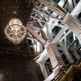 Monumental construction with beautiful chandelier in Wieliczka salt mine Royalty Free Stock Photography