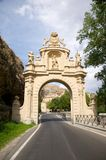Monumental door in segovia. Public free access street at segovia city Royalty Free Stock Image