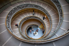 The monumental double spiral staircase. Designed by Giuseppe Momo helical to the Vatican Museums Royalty Free Stock Photo
