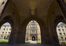 Monumental entrance at St John`s College in Cambridge Stock Photos