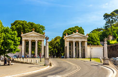 Monumental entrance to the Villa Borghese in Rome stock photo