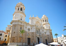 The monumental facade of the Cathedral of Cadiz, Andalusia, Spain Royalty Free Stock Photo