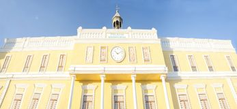 Monumental  fair facade depicting the Town Hall Building. Badajoz, Spain Royalty Free Stock Images