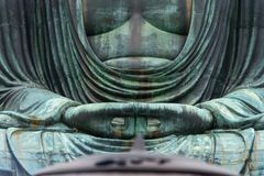 Monumental famous bronze statue of the great buddha   & x28;Daibutsu& x29;. In Kotokuin Temple, Kanagawa prefecture, Kanto region, Japan, Tourist Attractions& Royalty Free Stock Photo