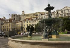 The monumental fountain in Rossio square Stock Photo