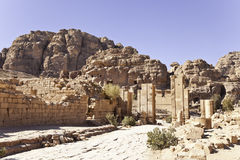 Monumental gate. The three-arched gateway lead into the temenose, petra, jordan Stock Photography