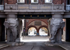 Monumental gate at Carlberg's brewery in Copenhagen. Royalty Free Stock Photography