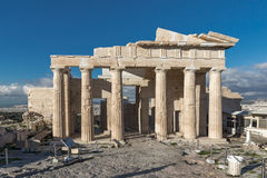 Monumental gateway Propylaea in the Acropolis of Athens, Greece. Monumental gateway Propylaea in the Acropolis of Athens, Attica, Greece Royalty Free Stock Photos