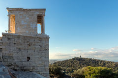 Monumental gateway Propylaea in the Acropolis of Athens, Greece. Monumental gateway Propylaea in the Acropolis of Athens, Attica, Greece Royalty Free Stock Image