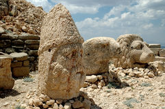 Monumental god heads on mount Nemrut, Turkey Stock Photos