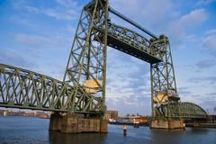 Monumental iron lifting bridge in Rotterdam. Monumental old iron liftingbridge Koningshavenbrug, Rotterdam Stock Photography