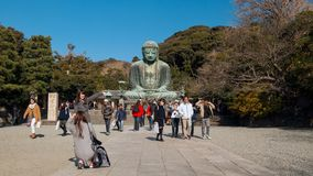 Monumental outdoor bronze statue of Amida Buddha which is most famous of Japan Stock Images