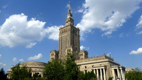 Monumental Palace of Culture and Science in Warsaw. The Stalin era building in Warsaw Poland serves as a tourist attraction and museum in this major Polish city royalty free stock photos