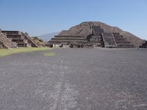 Monumental pyramid of the Moon at Teotihuacan ruins seen from Avenue of the Dead near Mexico city landscape. Monumental pyramid of Moon at Teotihuacan ancient royalty free stock photo