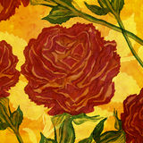 Monumental red roses hand drawn design. Illustration Stock Photography