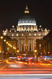 Monumental St. Peter's Basilica by night in Rome, Vatican Stock Photography