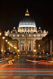 Monumental St. Peter's Basilica by night in Rome, Vatican Royalty Free Stock Photo