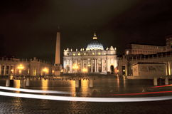 Monumental St. Peter's Basilica by night in Rome, Vatican Royalty Free Stock Photography