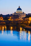 Monumental St. Peter`s Basilica at twilight in Vatican City. Monumental St. Peter`s Basilica at night in Vatican City Royalty Free Stock Image