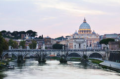 Monumental St. Peter`s Basilica at twilight in Vatican City. Monumental St. Peter`s Basilica at night in Vatican City Royalty Free Stock Photo