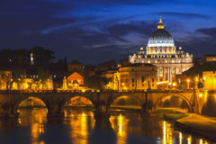 Monumental St. Peters Basilica at night in Vatican City.  Stock Photos