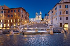 Monumental staircase Spanish Steps and and Trinita dei Monti chu. Rch, evening view from Piazza di Spagna in Rome, Italy Royalty Free Stock Image