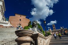 Capitoline Hill stairs in Rome stock images