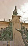 Monumental statue of king leopold the second. Ancient king of Belgium  on his horse Stock Photos