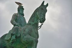 Monumental statue of king leopold the second Royalty Free Stock Photos
