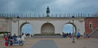 Monumental statue of king leopold the second. OSTEND, BELGIUM, September 2016: Monumental statue of king Leopold the second, ancient king of Belgium  on his Royalty Free Stock Photos