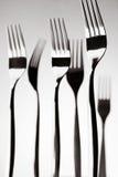 Monumental svartvit stilleben med gafflar, kökkonst, gaffelkonst Royaltyfri Fotografi