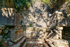 Monumental Tomb. Ruins of ancient city Olympos in Lycia. Turkey Royalty Free Stock Photography