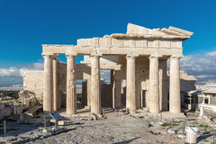 Monumentale gateway Propylaea in de Akropolis van Athene, Griekenland royalty-vrije stock afbeeldingen
