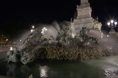 Monumentalna fontanna z koniami i ludźmi wymieniał Zabytek Aux Girondins, miejsce Del Quinconces w bordach, obrazy stock