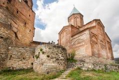 Monumentalne kamienne ściany święty ortodoksyjny kościół archaniołowie Budujący w xvi wiek, Gremi miasteczko, Gruzja Fotografia Stock